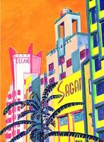 Collins Avenue Deco Scape 22x30 / 1999