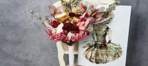 │Wedding│拍婚紗的捧花推薦-客製永生花乾燥捧花。奢華復古不規則綻放的美式手捧花