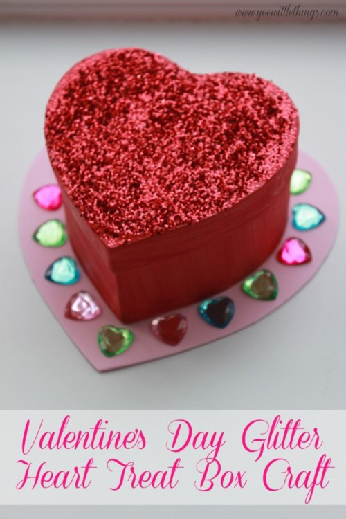 Valentine's Day Glitter Heart Treat Box Craft  #shop