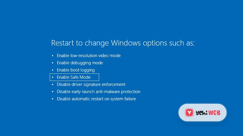 Enable Safemode Blue Screen Of Death BSOD - Yehiweb