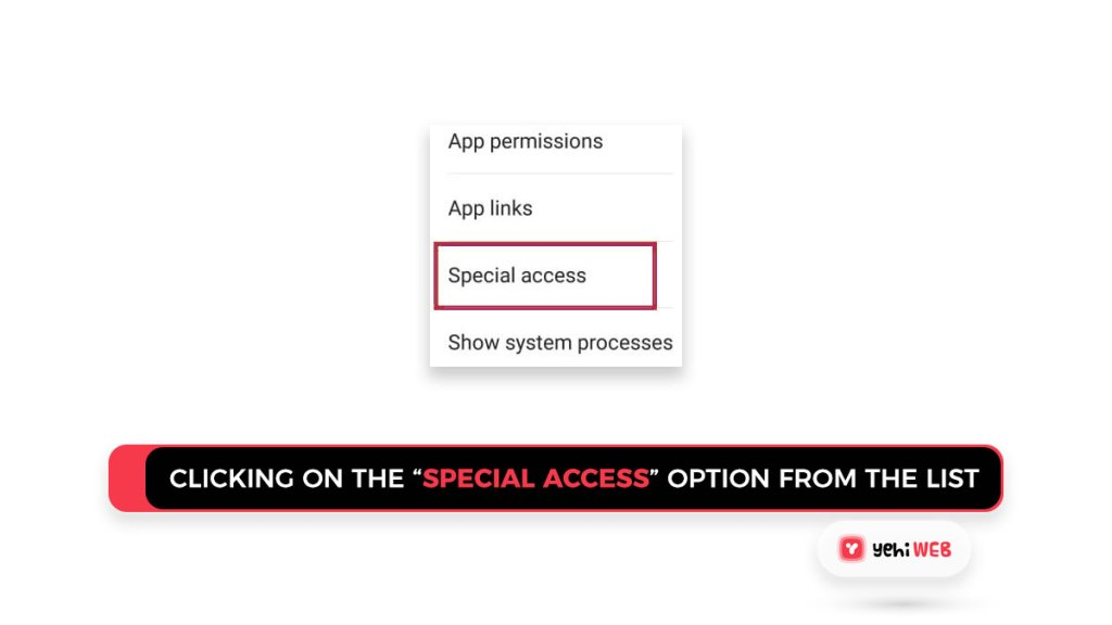 """Clicking on the """"special access"""" option from the list Yehiweb"""