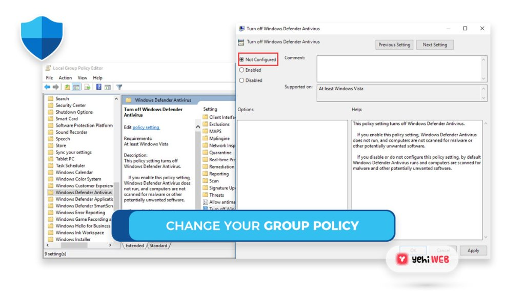 change your group policy yehiweb