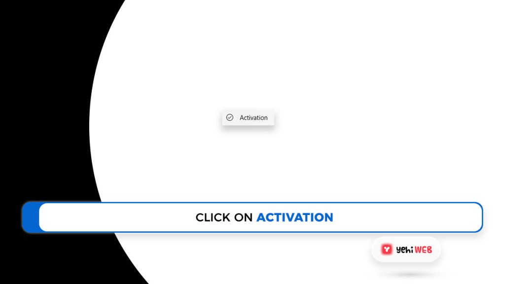 click on activation yehiweb