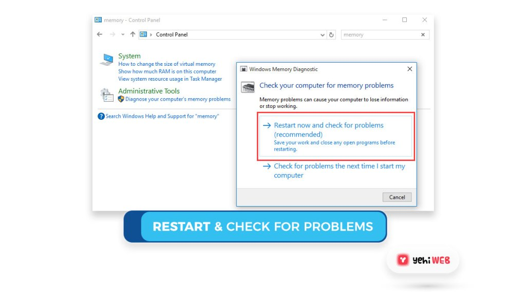 restart & check for problems Yehiweb
