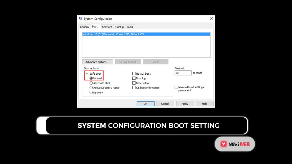 system configuration boot setting