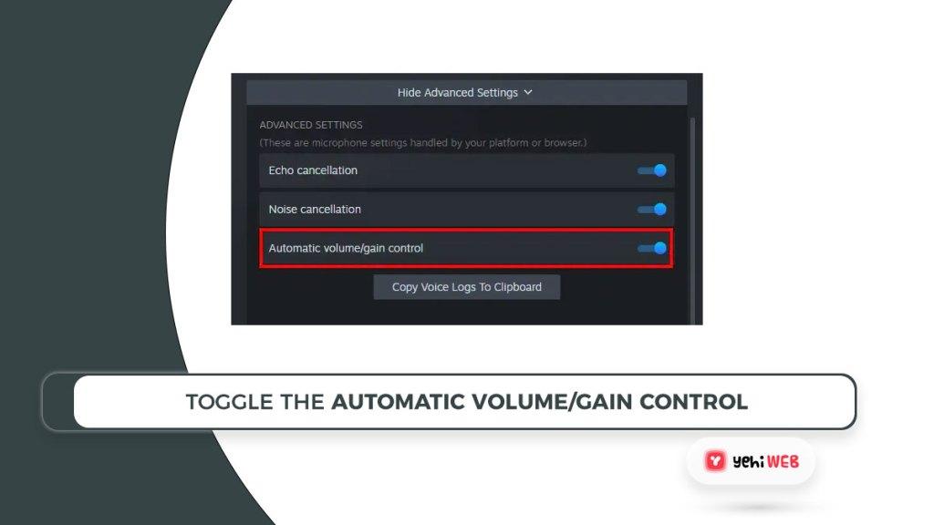 toggle the automatic volume gain control Yehiweb
