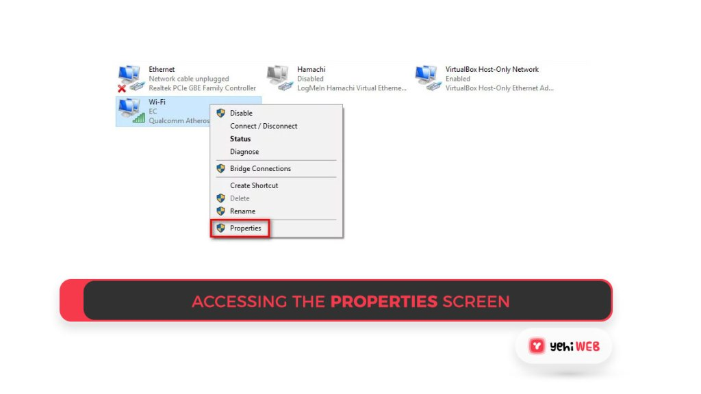 Accessing the Properties screen Yehiweb
