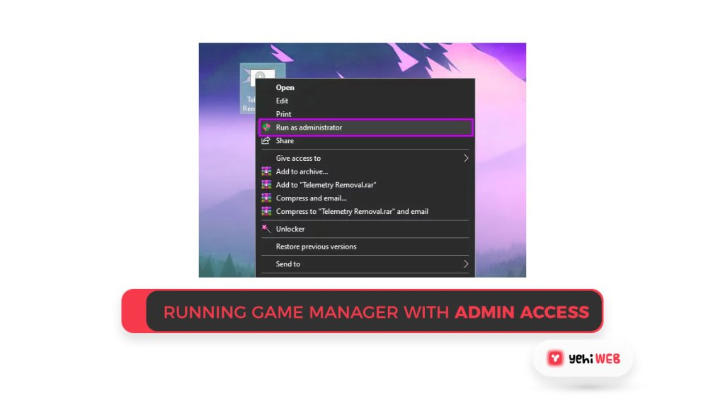 Running Game Manager with admin access Yehiweb