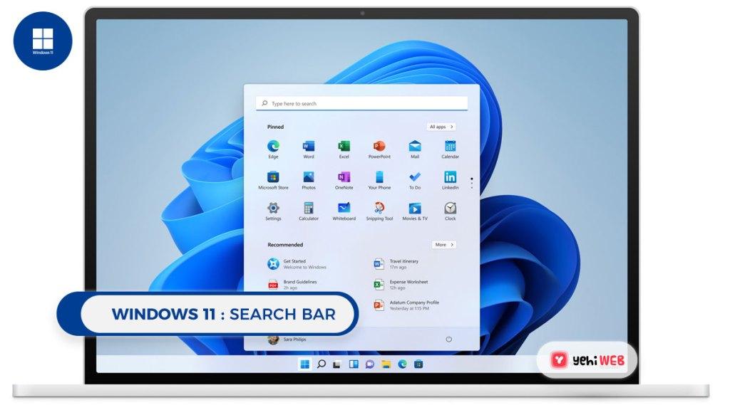 windows 11 Search bar Yehiweb