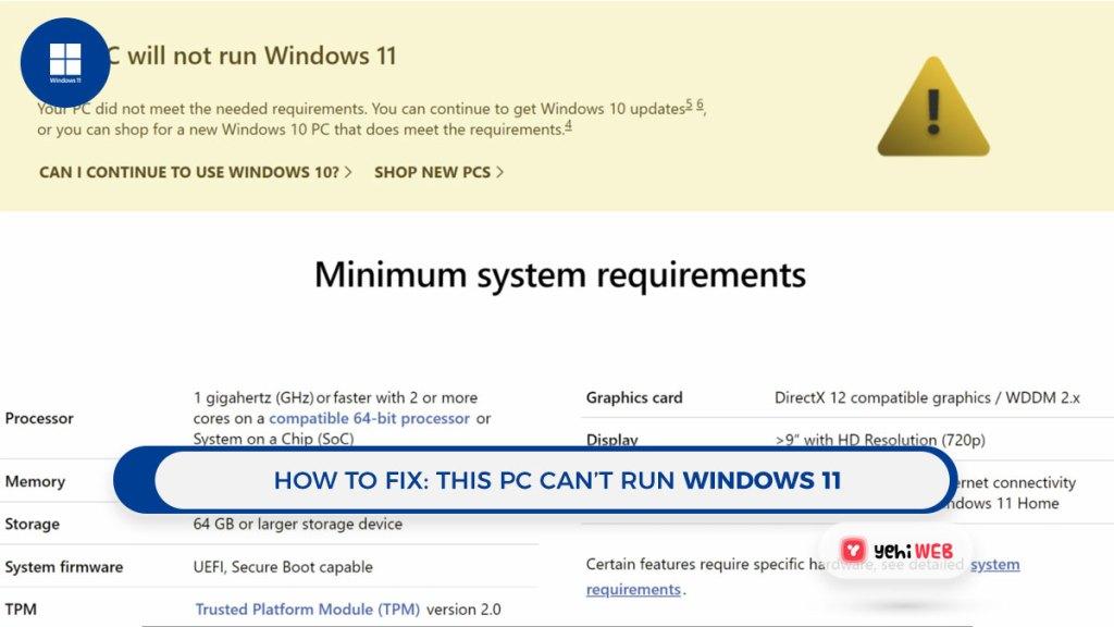 Fix This PC will not Run Windows 11 Yehiweb