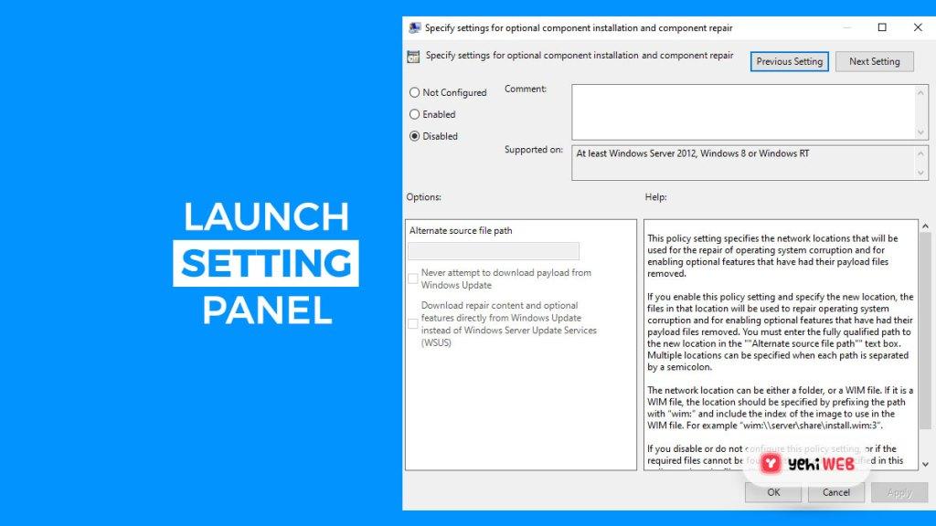 launch setting panel yehiweb