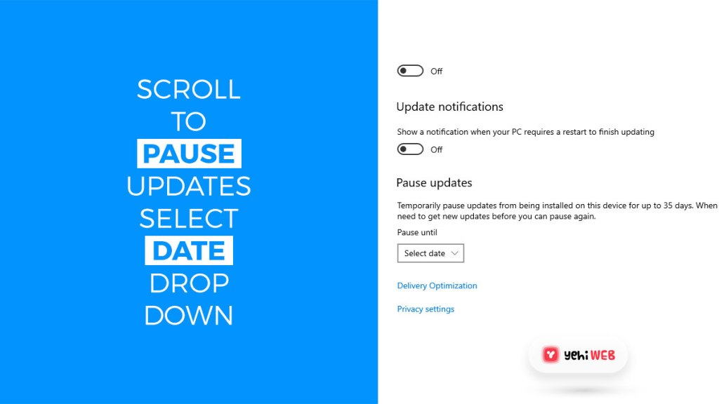 scroll to pause updates and select date drop down yehiweb