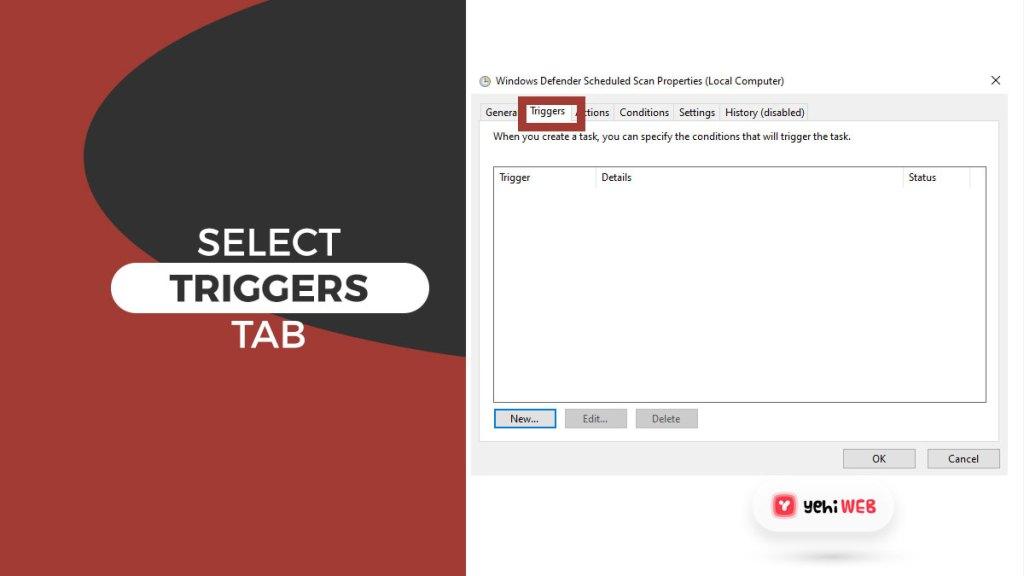 select triggers tab yehiweb