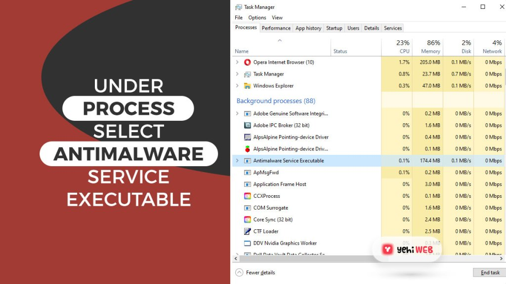 under process select antimalware service executable yehiweb
