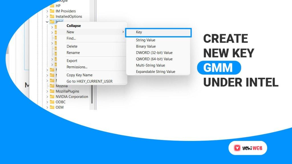 create new key name gmm under intel folder yehiweb