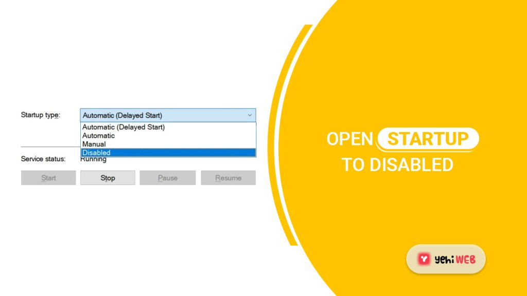 open startup to diabled yehiweb
