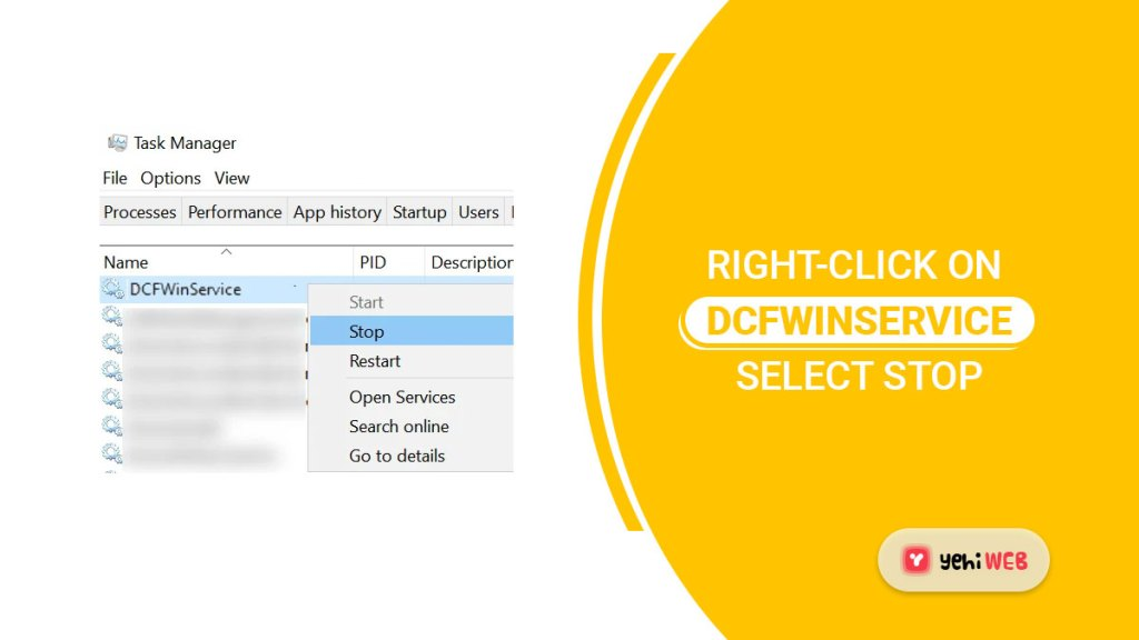 right click on dcfwinservice select stop yehiweb