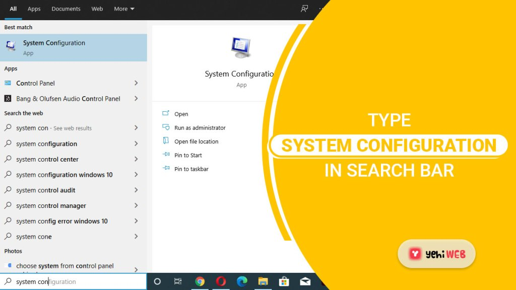 type system configuration in search bar yehiweb