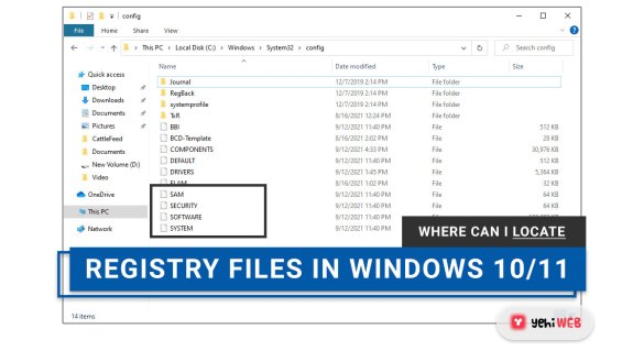 Where can I locate the Windows Registry files in Windows 10 11 yehiweb