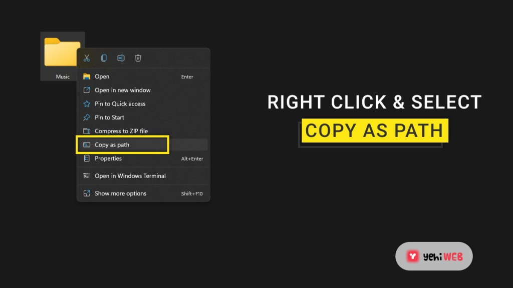 right click and select copy as path yehiweb