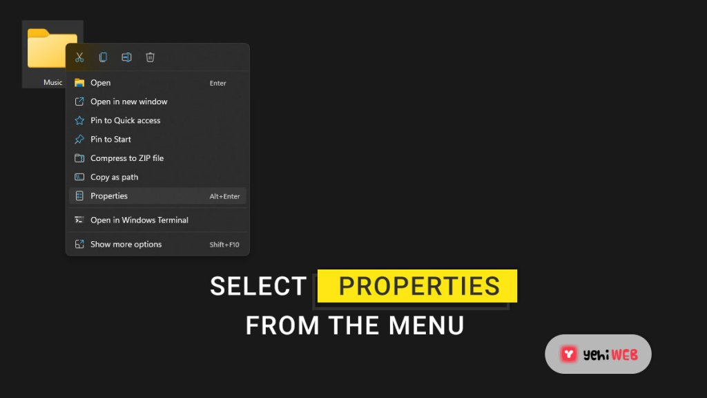 select properties from the menu yehiweb
