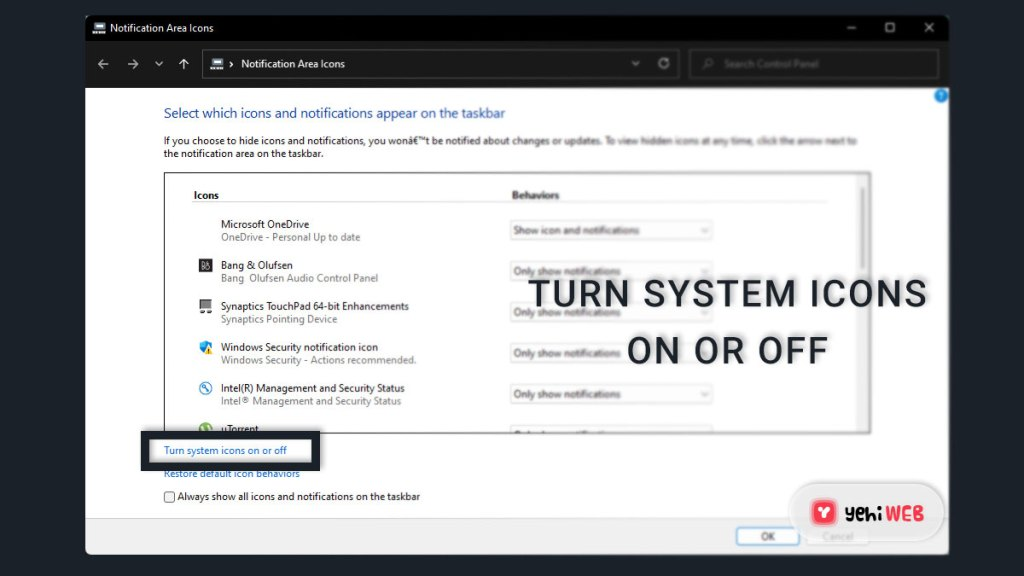 Turn system icons on or off yehiweb
