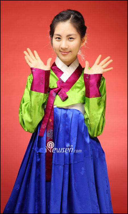 Korean pop group SNSD Seohyun in Hanbok