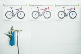 Schematics taped to the wall helped Szykowny keep track of his progress.