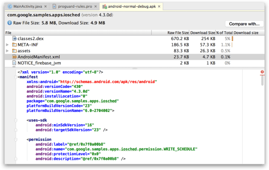 Android Studio - APK Analyzer xem file Manifest