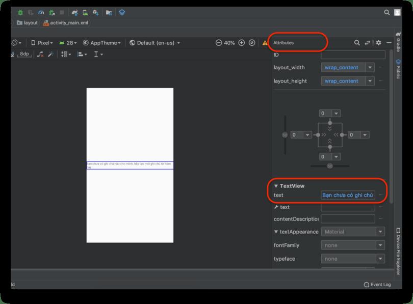 Tạo giao diện người dùng - Sửa chữa TextView