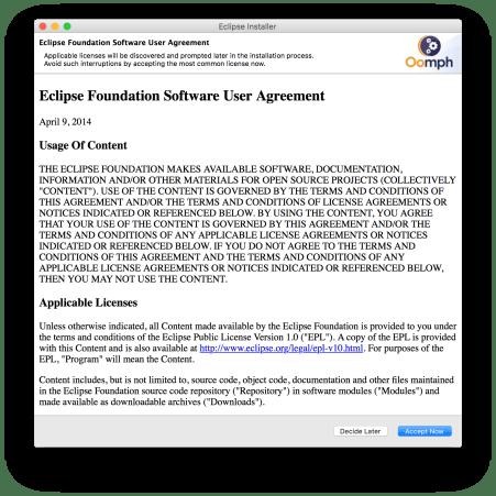 Cài đặt các công cụ phát triển - Điều khoản Eclipse