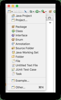 Tạo project Java - Tạo mới project từ thanh công cụ