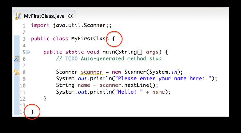 Minh họa cặp ngoặc nhọn bao lấy code của class