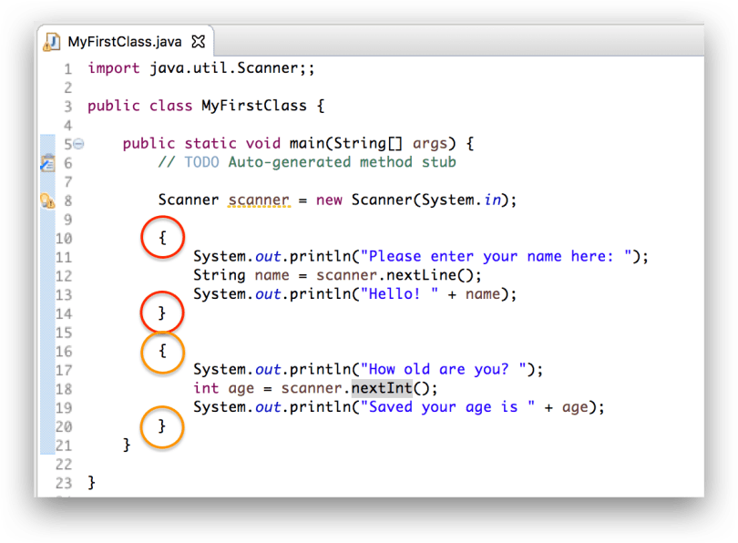 Minh họa cặp ngoặc nhọn bao lấy code của một khối lệnh