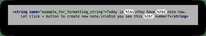 Ví dụ về các formatting string