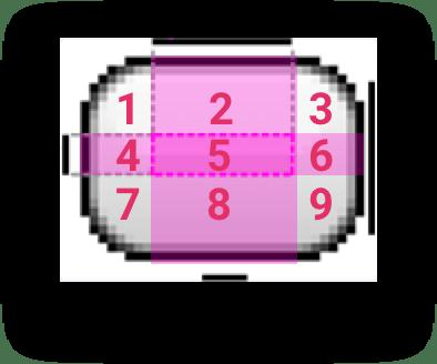 Bạn đã thấy 9 miếng được định nghĩa ra từ 2 đường gạch trên-trái ảnh chưa nào
