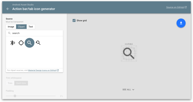 ActionBar - Công cụ Android Asset Studio