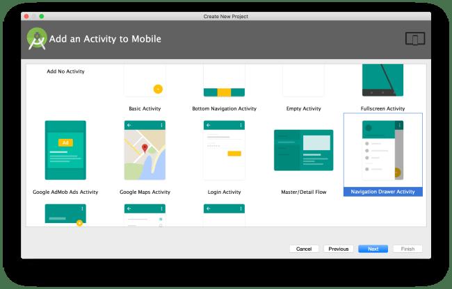 Navigation Drawer Activity lúc tạo mới project