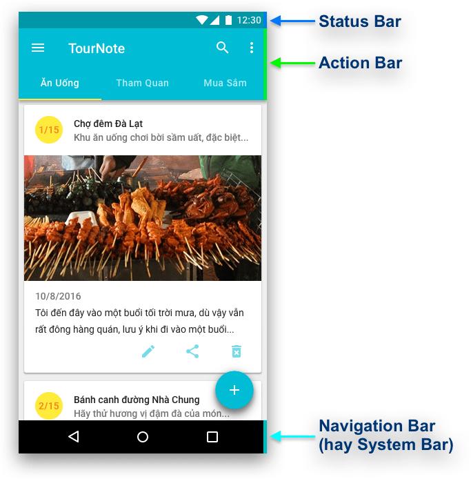 Các thành phần trên màn hình ứng dụng