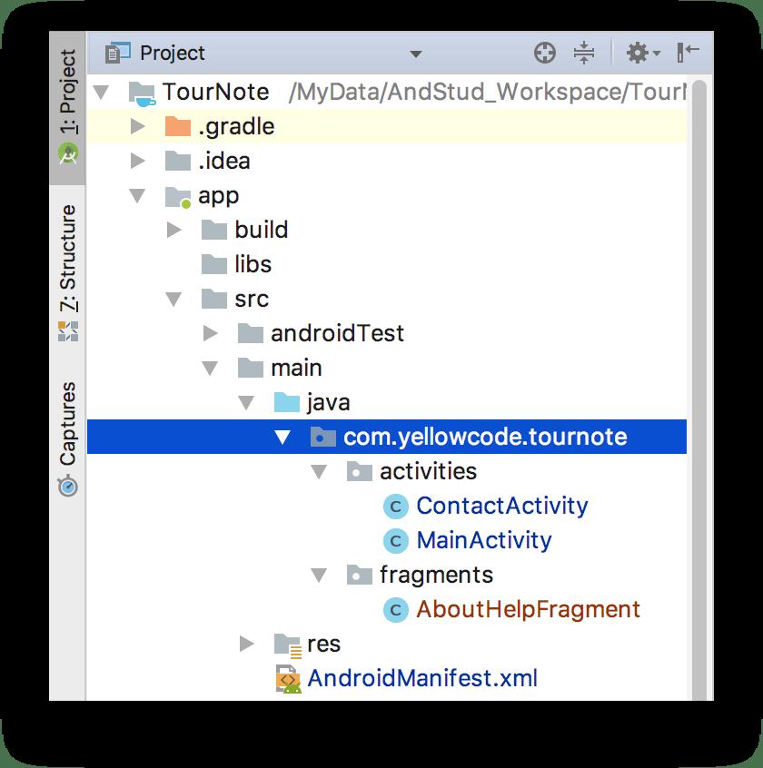 Cấu trúc package sau khi thêm AboutHelpFragment