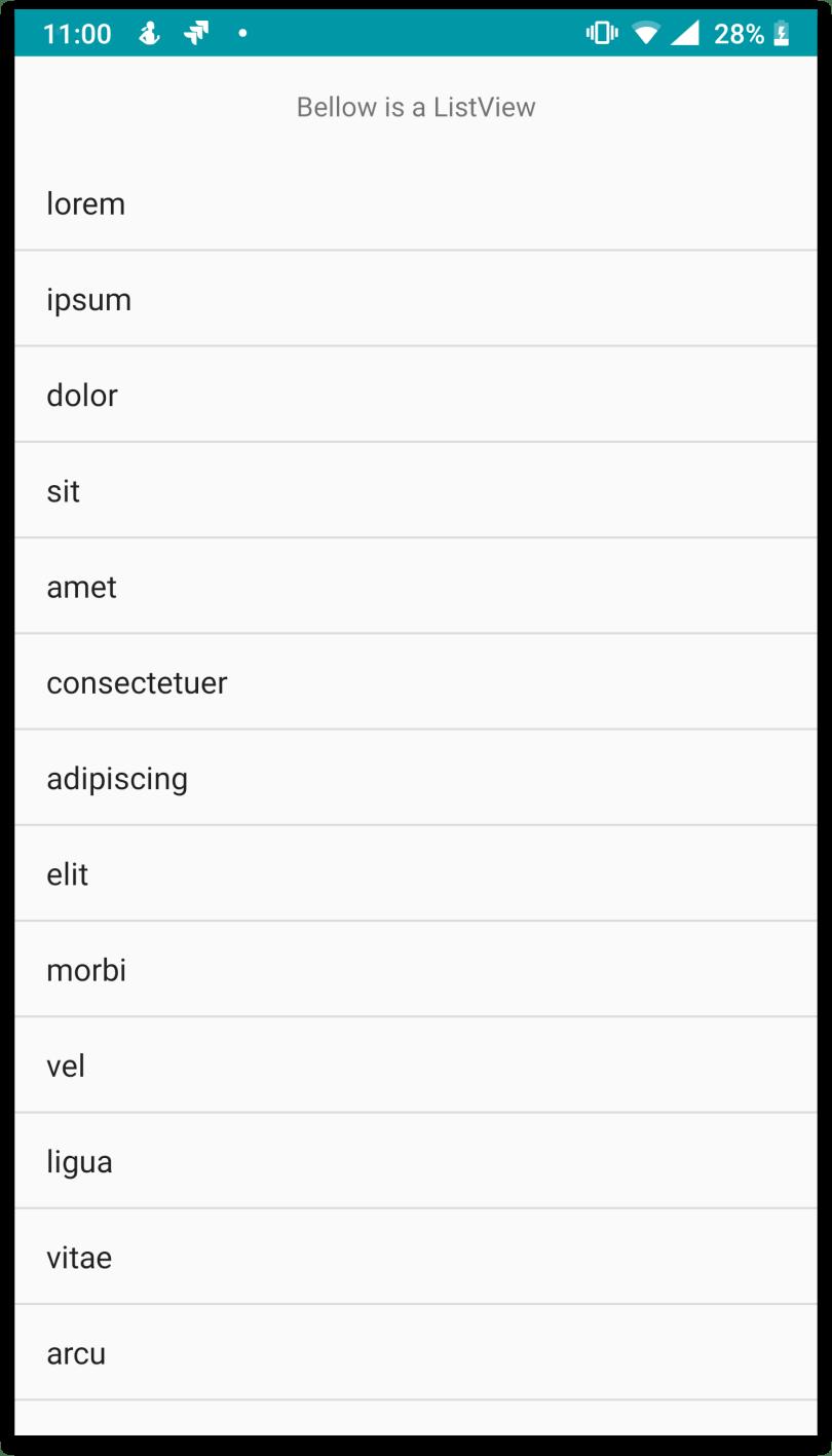 ListActivity với giao diện gồm TextView và ListView