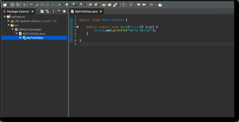 Project HelloWorld đã tạo với Eclipse