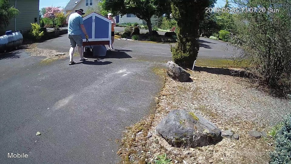 Pulling cart down driveway