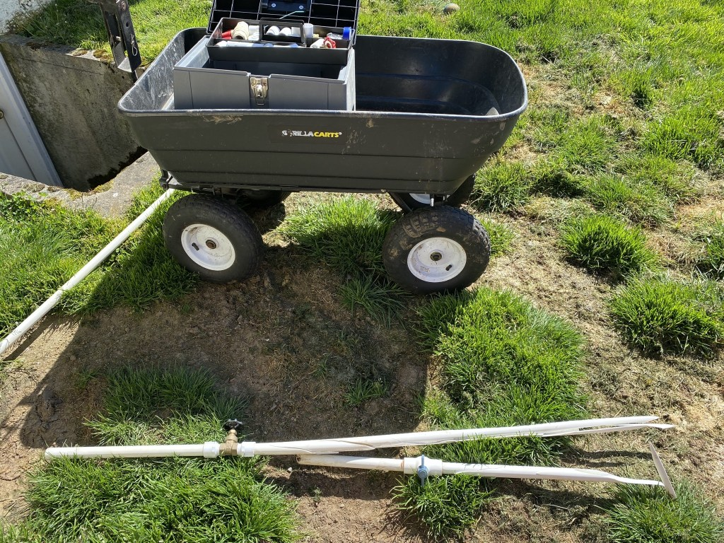 Removed pipe and cart with tools