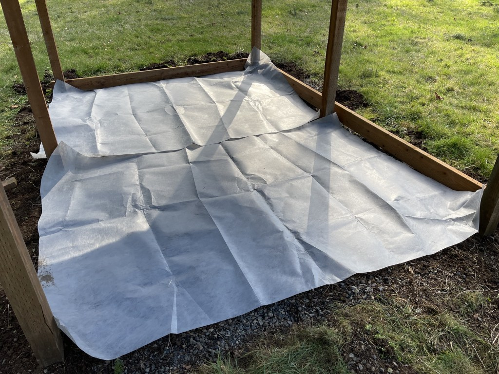 Adding weed mat