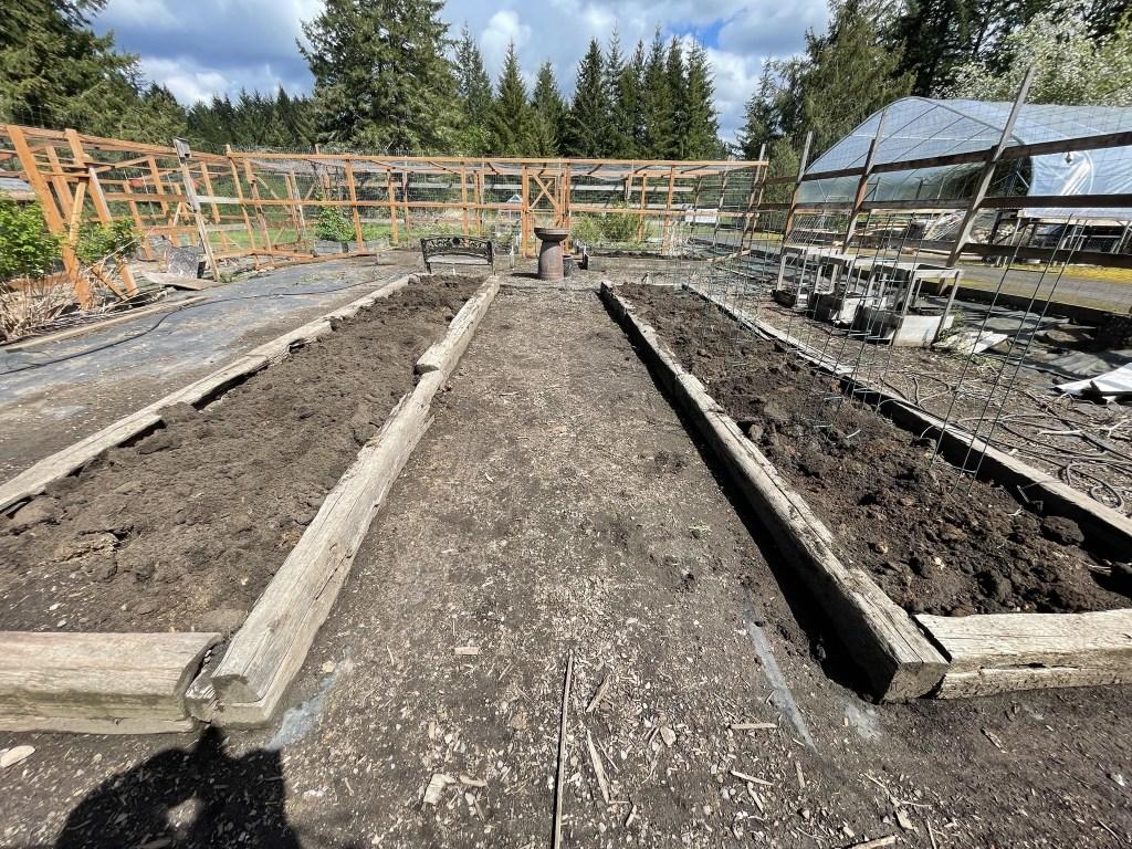 Veggie garden with soil