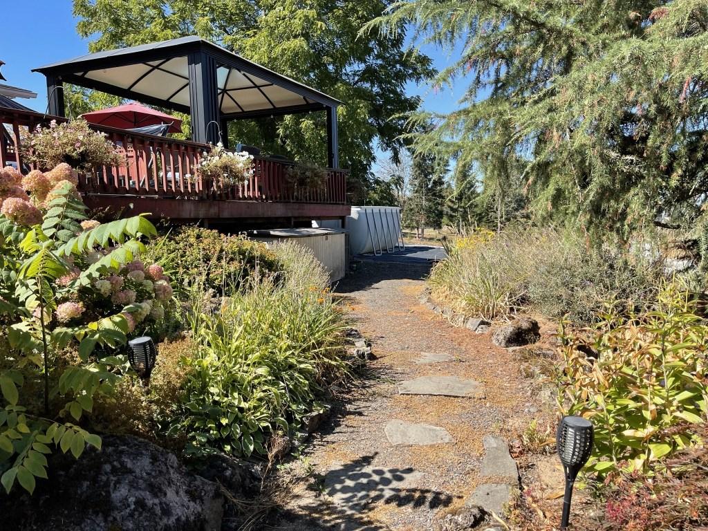 Deck, gazebo, gardens