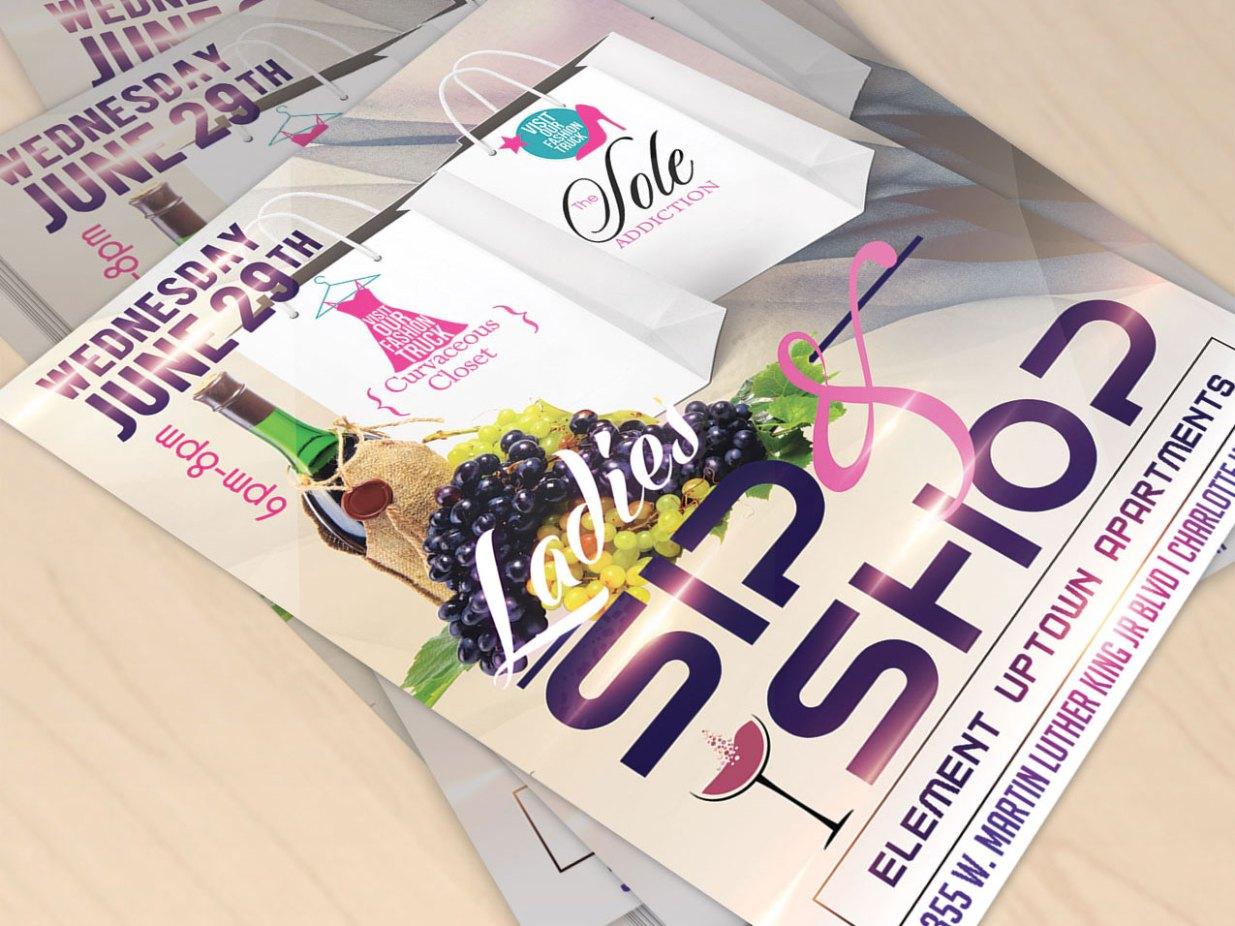 sip shop event promotion flyer design