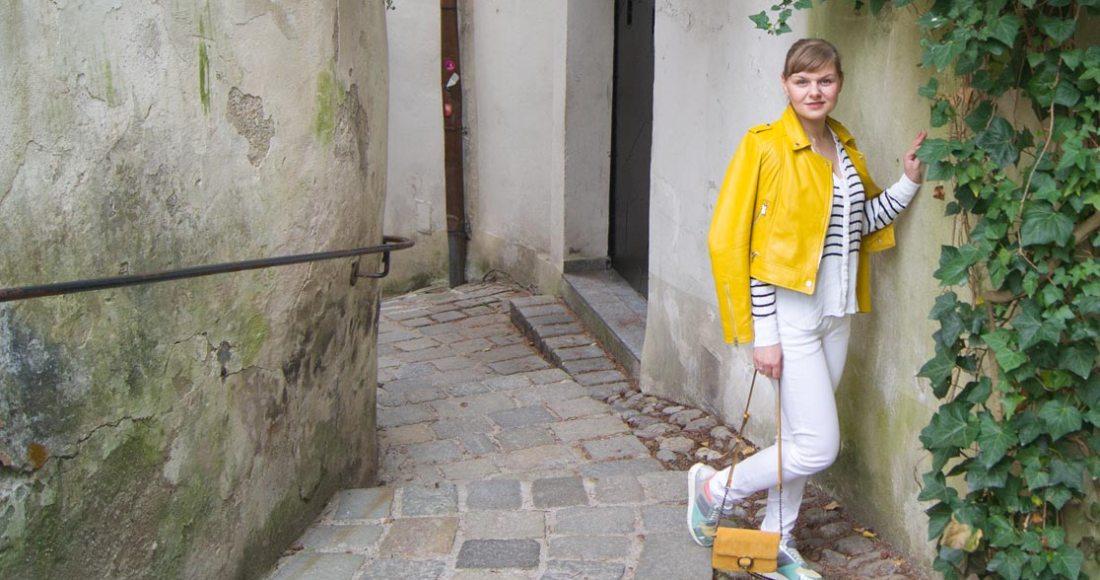 gelbe Lederjacke