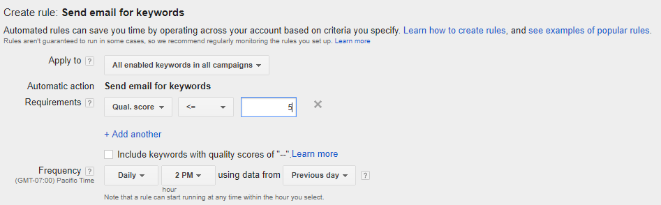 AdWords automated rules - alerts